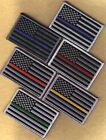 """US flag 3.5"""" black/gray left patch blue red gold orange green line FREE SHIPPING"""