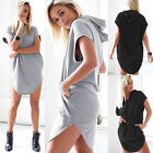 Women's Loose Hoodie T-Shirt Tops Short Sleeve Mini Dress Casual Blouse Long Top