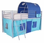 Cabin Metal Loft Mid Sleeper Bed Frame With Optional Single 3ft Mattress Boys