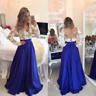 New Women Lace Long Sleeve Evening Party Wedding Cocktail Club Blue Long Dress