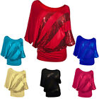 New Sexy Women O Neck Sequined Bat Sleeved  Loose Tops Blouses T-Shirt Tee S-2XL
