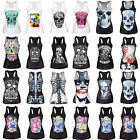 Women's Sleeveless T-shirts Stretchy Tank Top Skull Graphic Vest Gothic Camisole