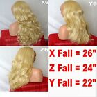 GOLDEN BLONDE Long Curly Layered Half Wig Hair Piece Ladies 3/4 Wig Fall Clip in