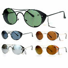 SA106 Vintage Style Retro Retractable Side Visor Round Oval Sunglasses
