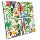 Tropical Flowers Birds Nature Floral MULTI CANVAS WALL ART Picture Print