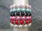 STUNNING IMITATION PEARL & CLEAR CRYSTAL STONG ELASTICATED STRETCH BRACELET