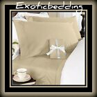 Beige Solid 4-Piece Bed Sheet Set 1000 Thread Count Egyptian Cotton