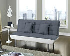 Fabric Sofa bed Charcoal or Light Grey and White Faux Leather 3 Seater Sofabed