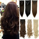 Real Natural Full Head Clip in on Synthetic Remy Dark Brown Red Hair Extentions