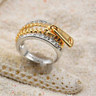 Cool Unique Zipper 18K Gold Silver Plated Crystal Fashion Womens Cocktail Ring