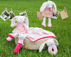 pink rabbit plush toy bunny doll rattle placate towel baby growth friend gift 1p