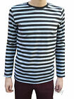 Stripey t-shirt tee black grey nautical indie mod Top striped preppy jumper mens