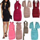 Women Ladies Ruched Do It Anyway Multiway Slinky Wrap Bodycon Party Dress 6-14