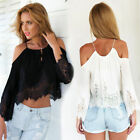 Sexy Women Casual Boho Lace Off Shoulder Shirt Summer Crop Tank Tops Blouse 2016
