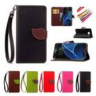 Flip Leather Cards Stand Case Wallet Cover w/Free Strap For Samsung S7 Edge Plus