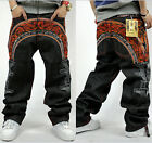 Male straight wings skateboard personality Embroidered Floral hip hop jeans
