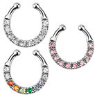 Nose Piercing Septum Fake Ring Clip On Hanging Nose Ring Multi Crystal Piercing