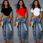 Women Backless Bodycon Crop Tops T-Shirt Short Sleeve Tank Tops Cami Tee EA77