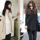 Korean Fashion Womens Loose Long Sleeve Cotton Tops Shirts Casual Blouse T-shirt
