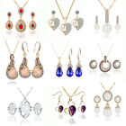 Women Crystal Rhinestone Pendant Necklace Earrings Gemstone Pearl Jewelry Sets
