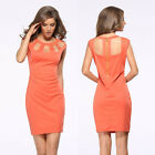 New Women's Orange Bodycon Slim Evening Party Sexy Cocktail Pencil Office Dress