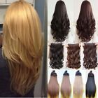 Hair Extensions Half Full Head Golden Blonde Clip In Feel Human Curly Straight