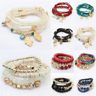 Womens Boho Multilayer Beads Bracelet Bangle Charm Cuff Jewelry