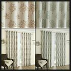 Orchard Lined Eyelet Curtains Embroidered Trees Leaves Ring Top Ready Made Pair