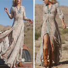 New Women Boho Summer Casual Chiffon Floral Evening Party Beach Long Maxi Dress
