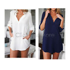 88G - Women Long Sleeve V Neck Oversize Loose Casual Chiffon T-Shirt Top Blouse