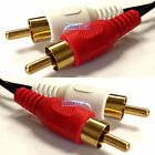 TWIN 2 RCA PHONO Male Plug Audio RED WHITE Cable 50cm 1m 1.5m 2m 2.5m 3m 5m 10m