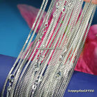 "Wholesale 10pcs Solid Silver Plated 2mm Box Chain Lobster Clasp Necklace 16""-24"""