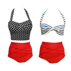 women's fashion Band Pattern High-Waist Swimsuit Padded Bikini Swimwear