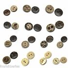 200 Accessories Boutons Coquille de Coco Motif Naturel 2 Trous M0895