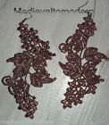 """NEW~Hand Made LONG Your Color Lacy Light Venise Lace Angled Art Earrings 5"""""""