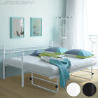 Metal Day Bed with Trundle Single French Guest Bed Frame for Mattress 200/80 cm