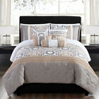 10 Piece Santee Taupe/Gold Reversible Bed in a Bag w/600TC Cotton Sheet Set