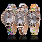 Women Butterfly Rhinestone Flowers Leather Bracelet Quartz Cheap New Wrist Watch