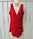 Shape FX RED Party Top Tunic Ruched Long Control Shapewear $109 NEW USA sz 12 14