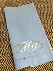 """Vintage Embroidered 'HIS' Blue Guest Towel with Pink Roses 11"""" x 17 1/2"""""""