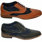Mens Brogues Shoes Designer Faux Leather Suede Lace Up Smart Formal Italian BNWT