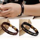 Men Braided Genuine Leather Stainless Steel Cuff Bangle Bracelet Wristband New