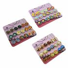 Printed Glass Cabochons Magnetic Clip-on Stud Earrings for Kid Teen Girls Womens