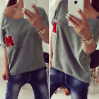 Fashion Womens Summer Loose Casual Short Sleeve Sexy T-Shirt Blouse Ladies Tops