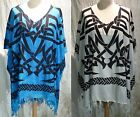 boho poncho tunic top caftan Celtic tribal blouse beach cover 16 18 20 22 24 26
