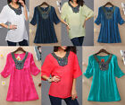 PLUS SIZE Women Short Sleeve Embroidery Loose T Shirt Casual Blouse Tops Summer