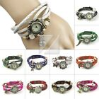 Frauen Leatherette + Stainless Steel Weave-Verpackungs-Armband Armbanduhr Quarz