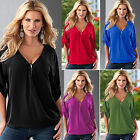 Plus Size Women Loose Summer Short Sleeve Sexy V Neck Shirts Tee Tops Blouse New