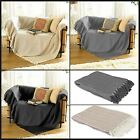 Collie ZigZag Bed Chair Sofa Settee Cotton Throw Blanket With Tassels