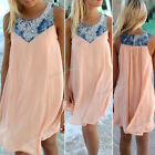 Women Sleeveless Summer Chiffon Evening Party Mini Beach Dress Denim Sundress